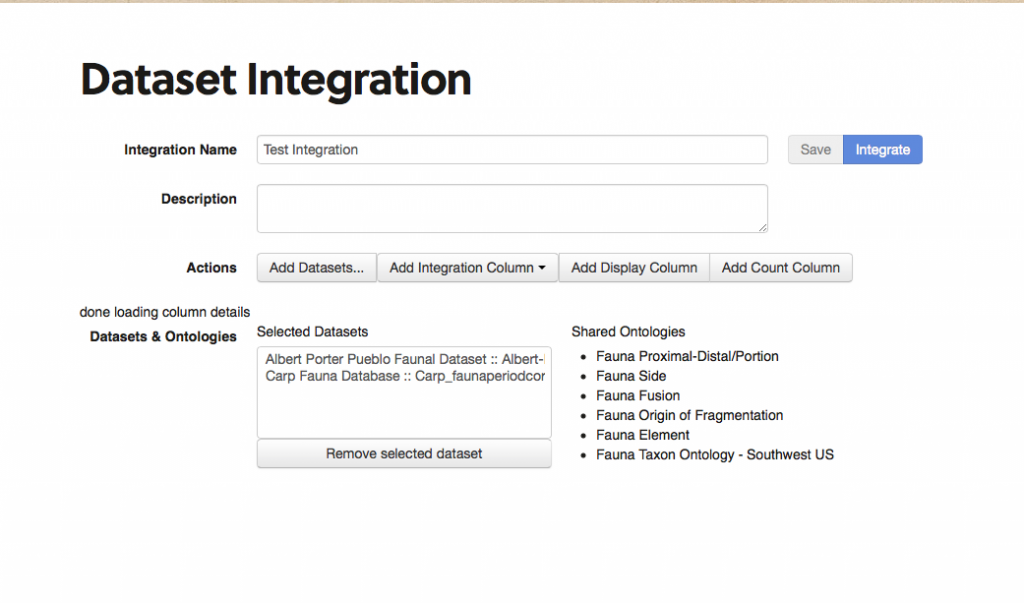 main integration screen