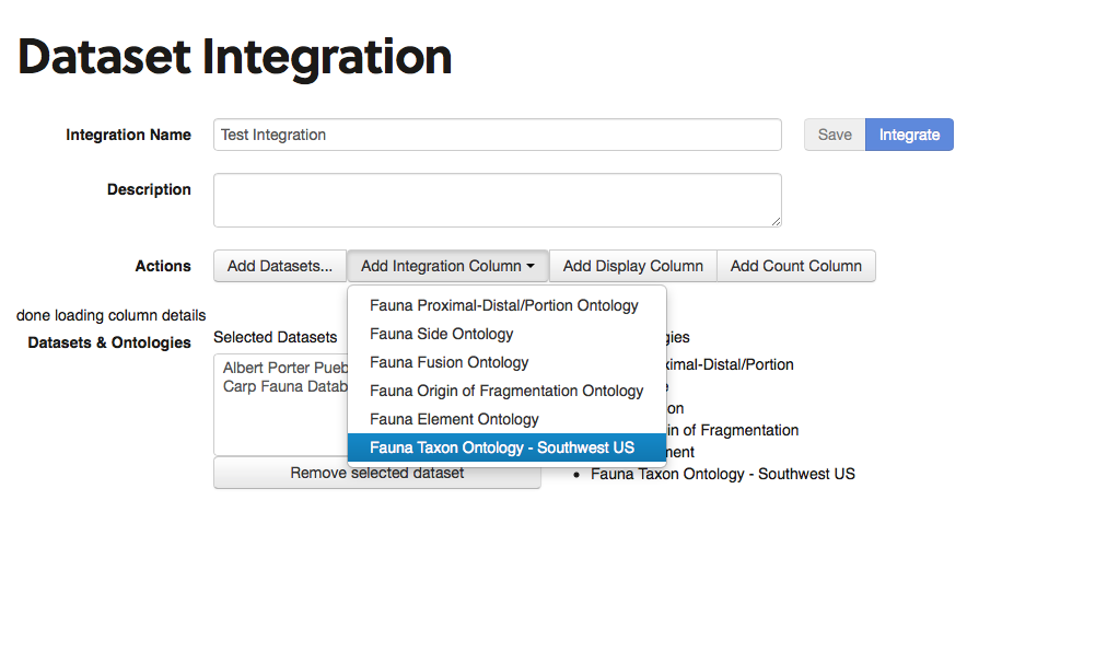 selecting an integration column