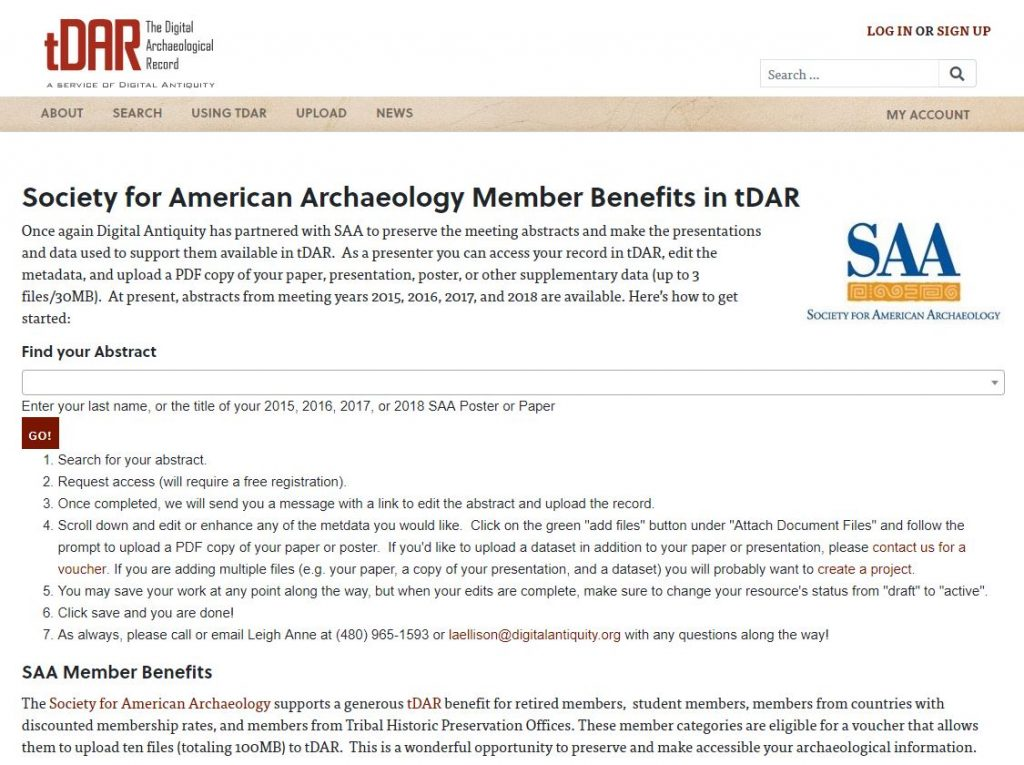 SAA Member Benefits page in tDAR