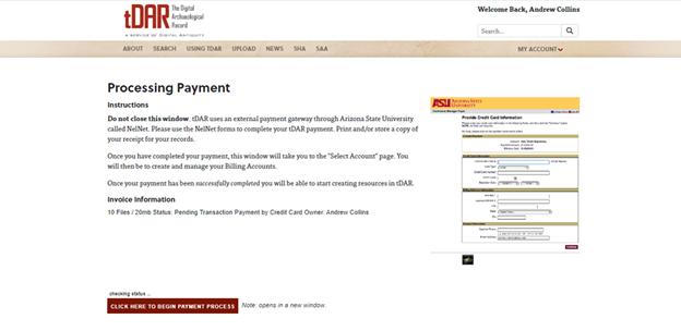 Payment Processing screen