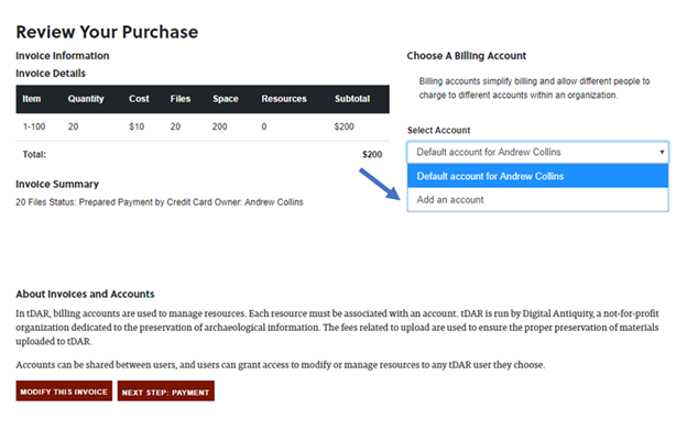 How to select existing billing account or create new billing account in the purchasing process