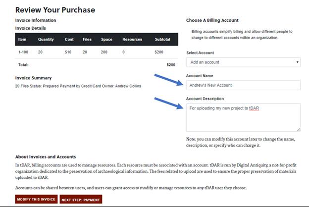 Account description field for tDAR billing accounts.