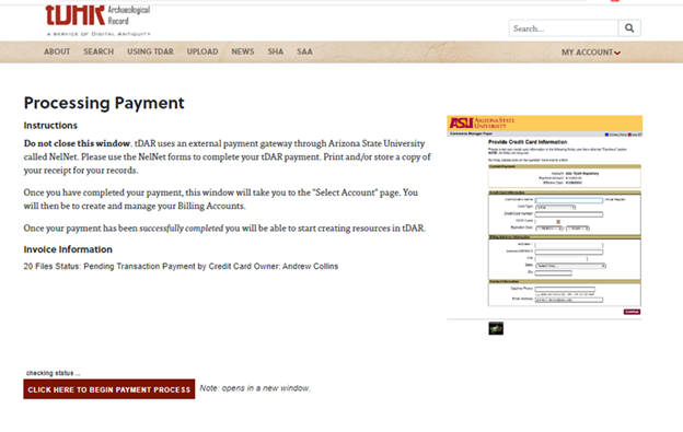 Processing payment page