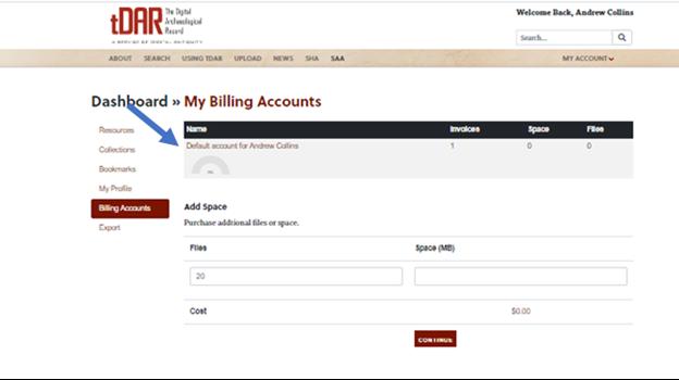 List of tDAR billing accounts