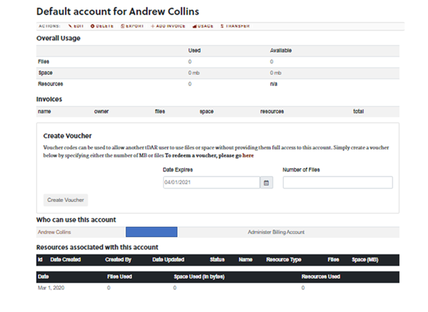 Billing account page