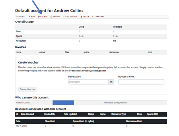 Action toolbar for tDAR billing Account. Delete option is indicated