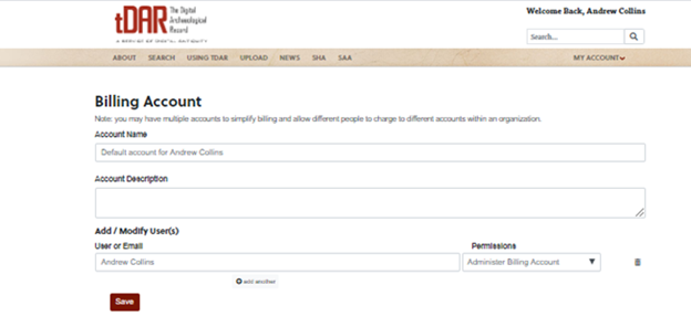 Edit page for tDAR billing account