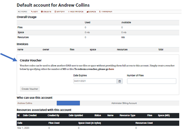 Action toolbar for tDAR billing Account. Create Voucher option is indicated