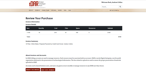 Review Purchase screen when adding or creating billing account